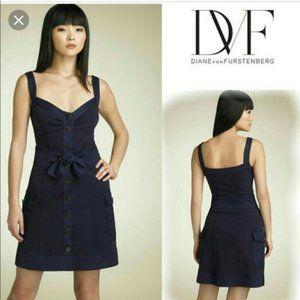 Diane von Furstenberg DVF Navy Sosie dress size 10